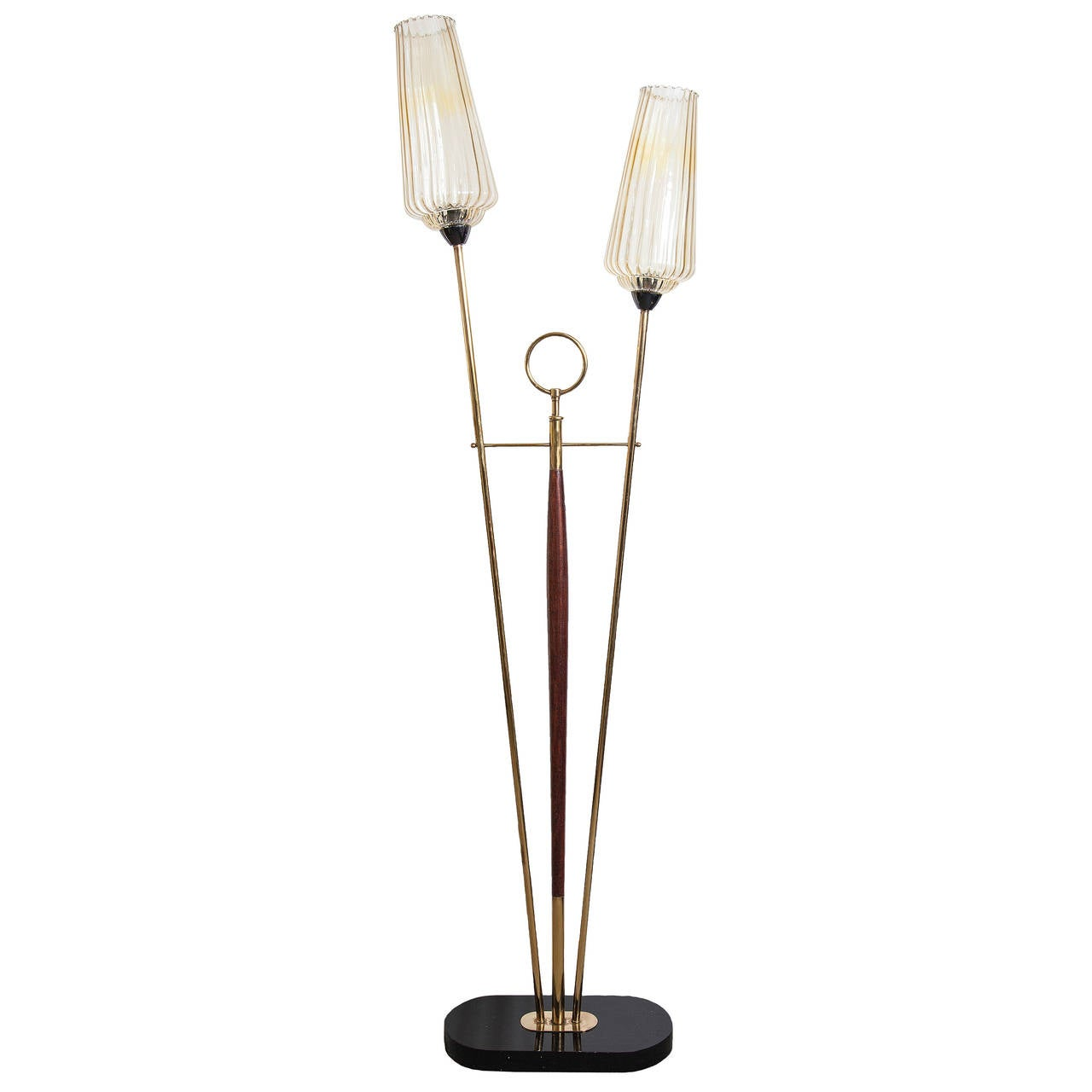 Black floor lamp with glass french 1950 for 1950 floor lamp