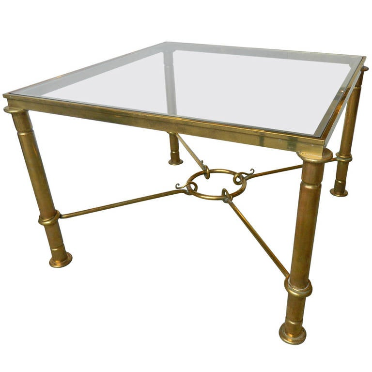 Large french brass square coffee table at 1stdibs Metal square coffee table