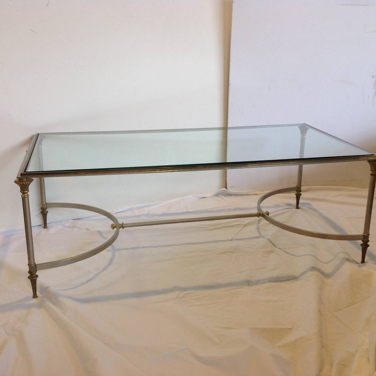 Stainless And Brass Glass Top Coffee Table At 1stdibs