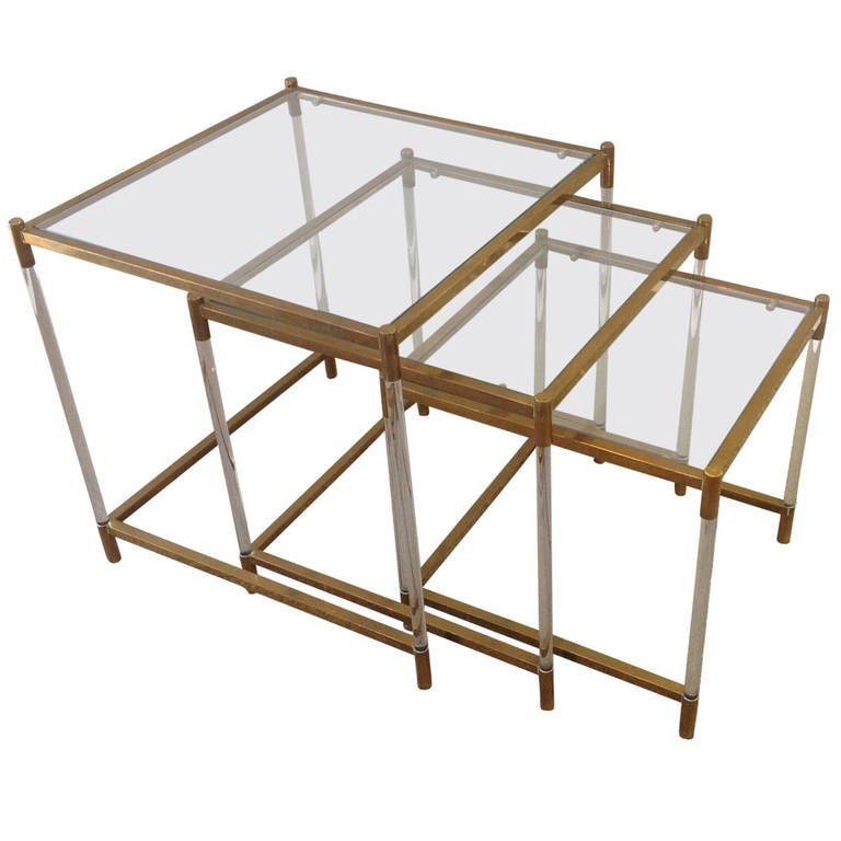 Italian Mid Century Modern Brass And Lucite Nesting Tables 1