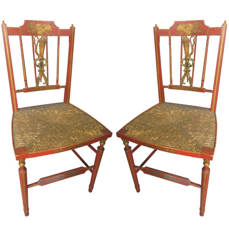 Pair Red Painted And Decorated Side Chairs At 1stdibs