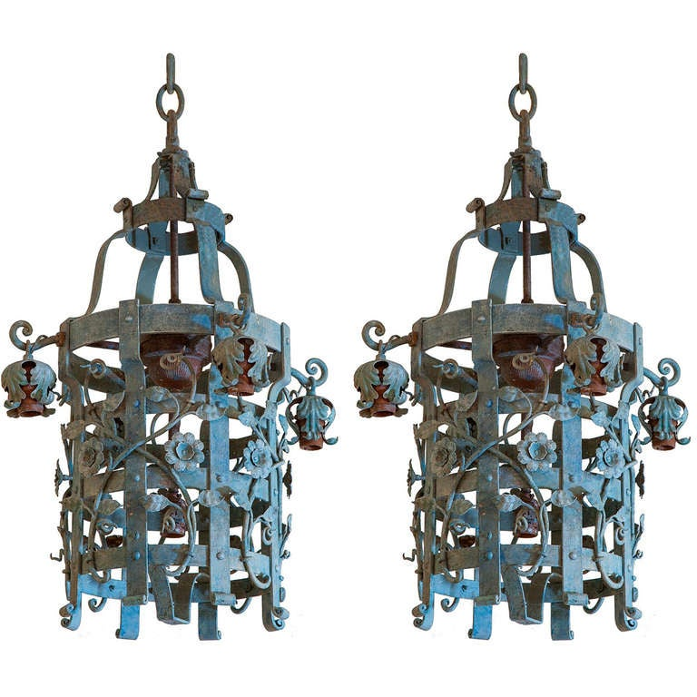 Pair Of Iron 1920 S Chandeliers At 1stdibs