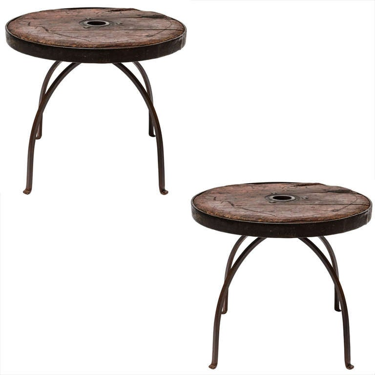Unique Pair Of Italian Antique Wooden Wheels Table At 1stdibs