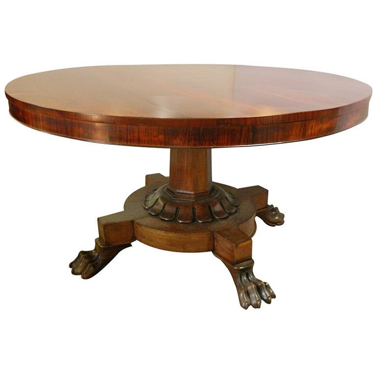 Antique rosewood round dining table at 1stdibs for Dining room tables 1940s