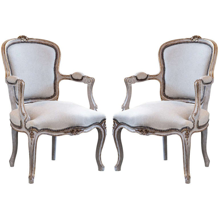 Pair of painted louis xv style fauteuils antiques of river oaks houston tx - Fauteuil style louis xv ...