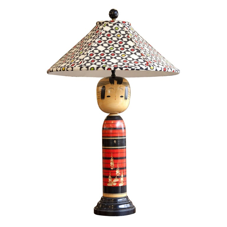 Japanese Kokeshi Lamp Antique Kimono Silk Shade At 1stdibs