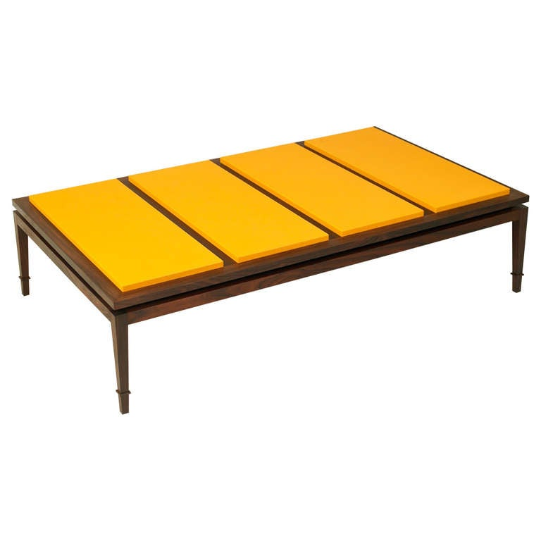 Rosewood And Yellow Leather Coffee Table At 1stdibs