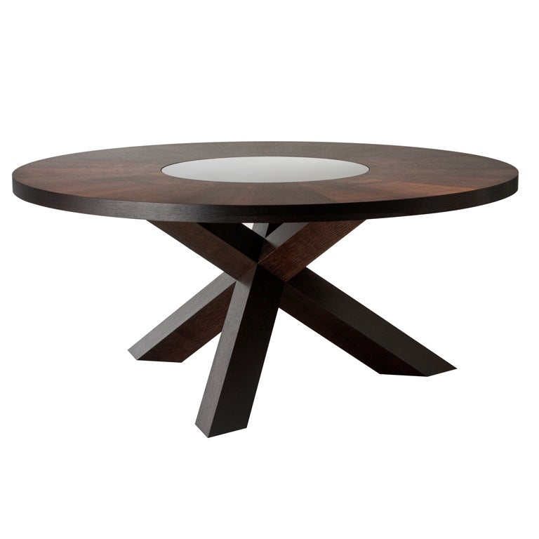 Fumed Oak Dining Table With Mirrored Lazy Susan At 1stdibs