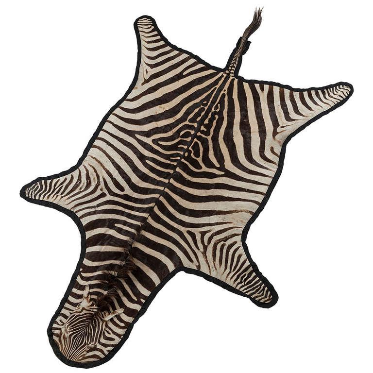 Vintage Zebra Hide On Felt Rug At 1stdibs