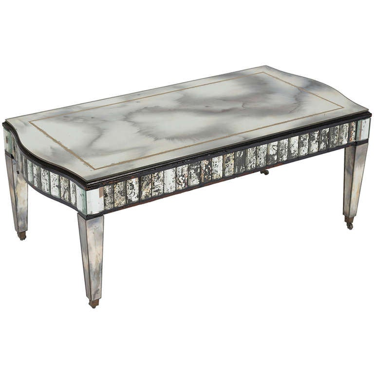 Antiqued Mirrored Cocktail Table At 1stdibs