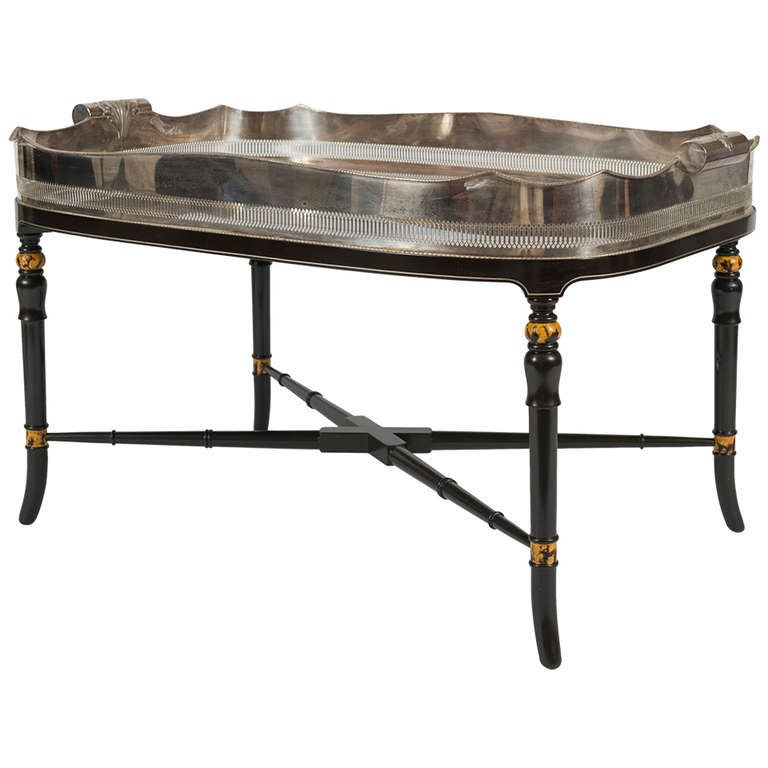 Silver Coffee Table Plate: Regency Style Silver-Plated Tray Table On Stand At 1stdibs