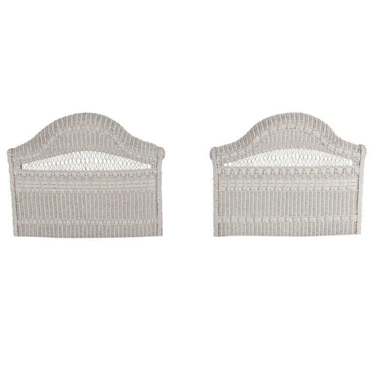 Pair Of Vintage White Painted Wicker Twin Headboards At 1stdibs