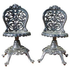 Ornate Pair of Rococo Swivel Chairs