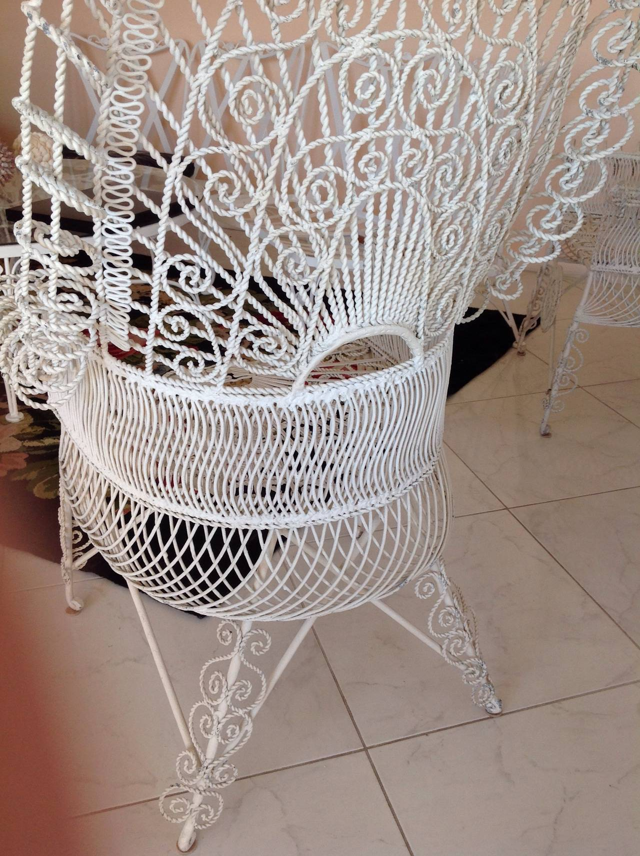 Pair Of Iron Wirework High Arch Top Barrel Back Chairs At