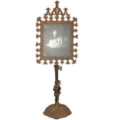 Gothic Revival Figural Metal Candle Screen