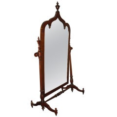 Gothic Revival American Shaving Mirror Attributed to Roux