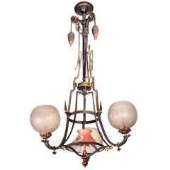 American 19th Century Three-Arm Gas Chandelier