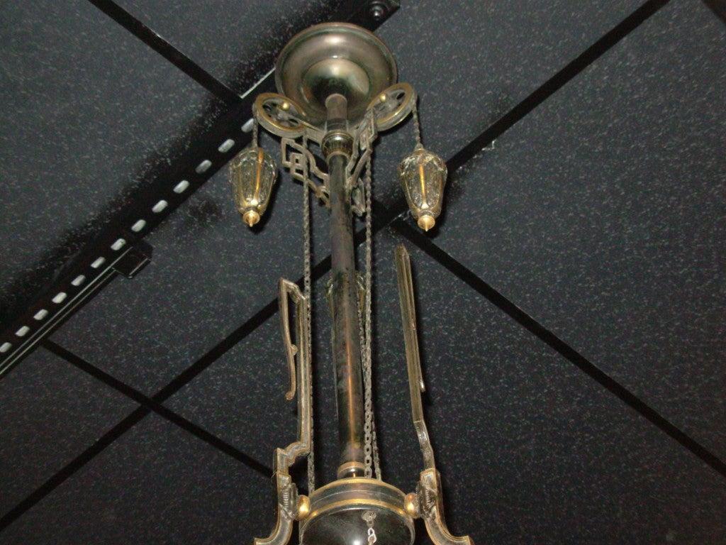 American 19th Century 3 Arm Gas Chandelier 5