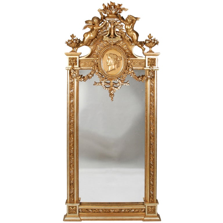 American 19th Century Victorian G. Herter Gilt Figural Mirror For Sale