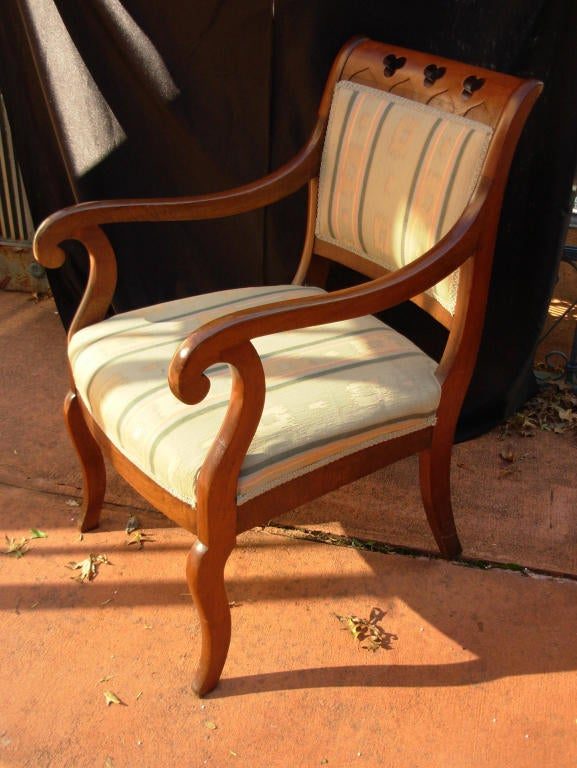 American Classical Gothic Revival Armchair, attrib. to Meeks, 19th c. N. Y. For Sale