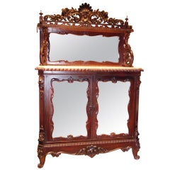 Victorian Rosewood Rococo Revival Marble-Top Cabinet