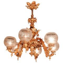 Antique Gas Chandelier Six-Arm w antique globes