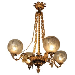 Antique Chandelier 19th Century Four-Arm Gas Chandelier