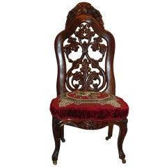 Belter Slipper Chair, Rococo Revival NY, circa 1850