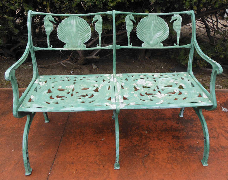 Vintage Bench By Molla With Shell And Seahorses At 1stdibs