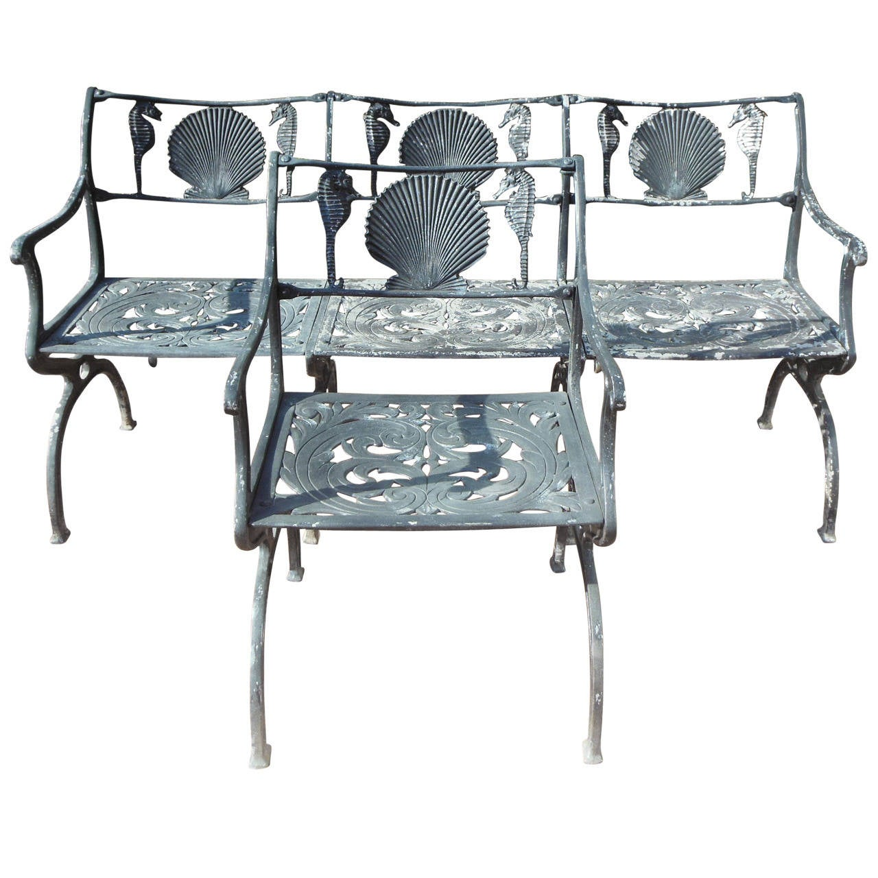Patio Set By Molla For The Garden Or Sea Shore With Shells And Horse 1