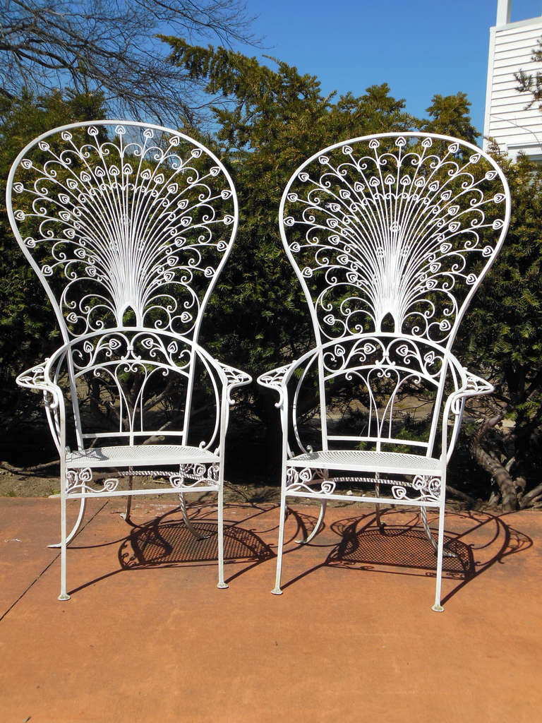 A Pair of 5 Ft tall Wrought Iron Peacock Chairs by Salterini, These chairs  were - Vintage Salterini Peacock Chairs For Sale At 1stdibs
