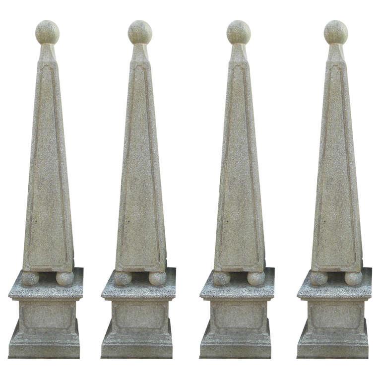 Cast Stone Obelisks, set of 4