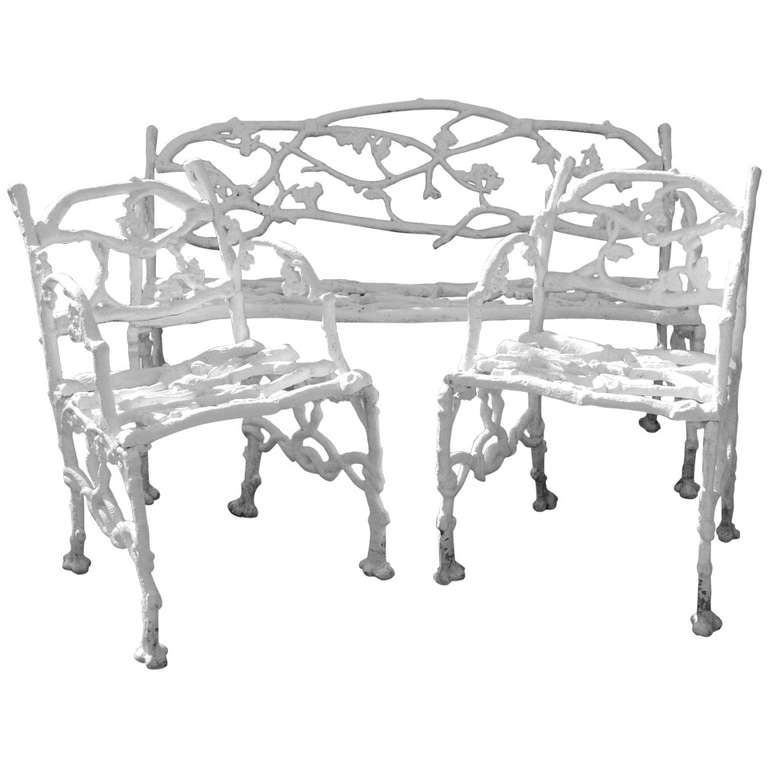 Delicieux Garden Set: Cast Iron Twig Or Rustic Bench And Pair Of Chairs For Sale