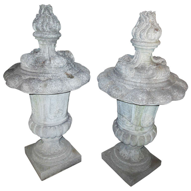 Cast Stone Pair of Finials 45""