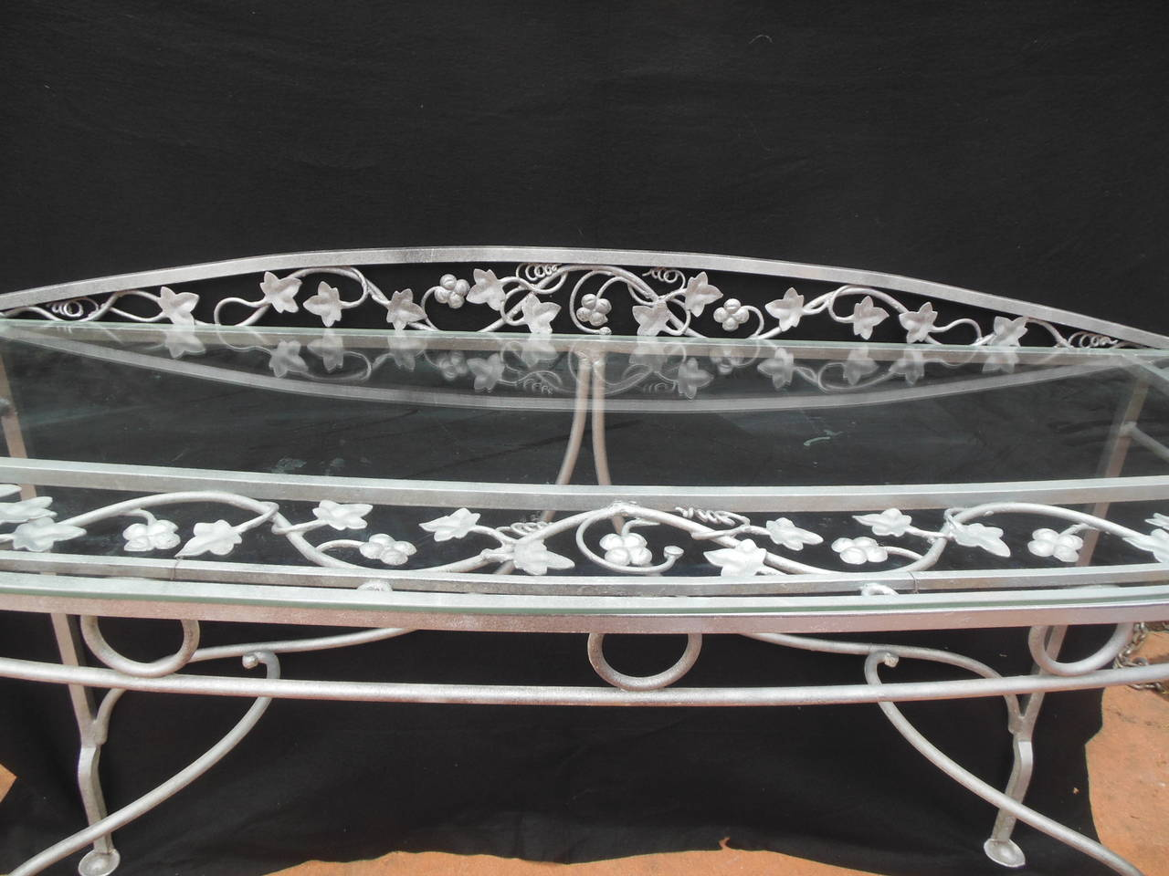 Important Vintage Wrought Iron And Glass Console Table By John Salterini.  This Exact Table Is