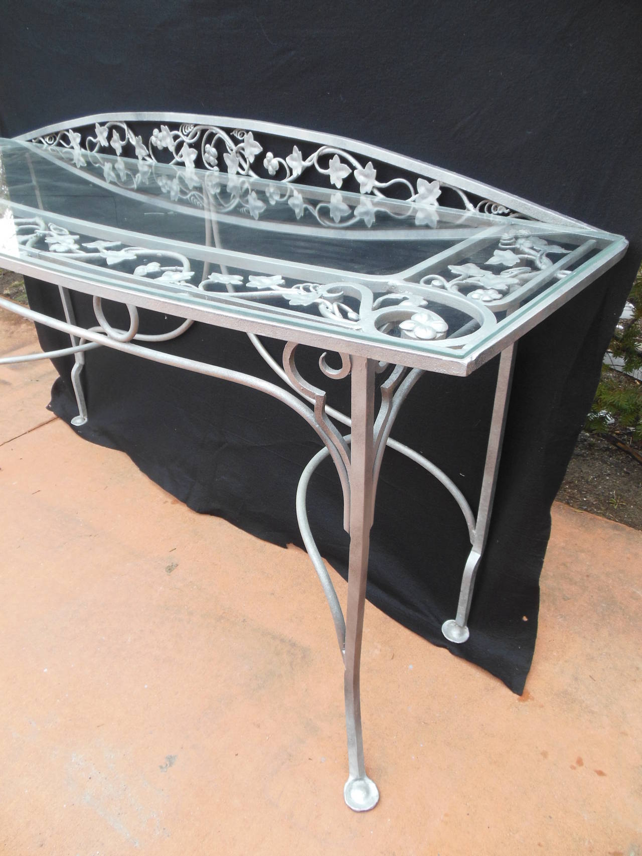 Vintage Salterini Wrought Iron Console Table For Sale at 1stdibs