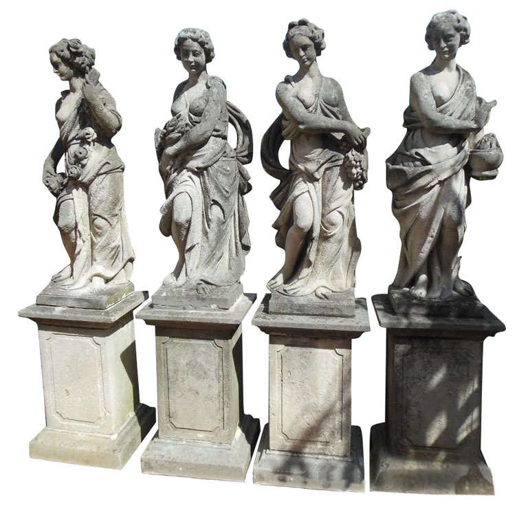 Four Seasons Statues In Cast Stone At 1stdibs