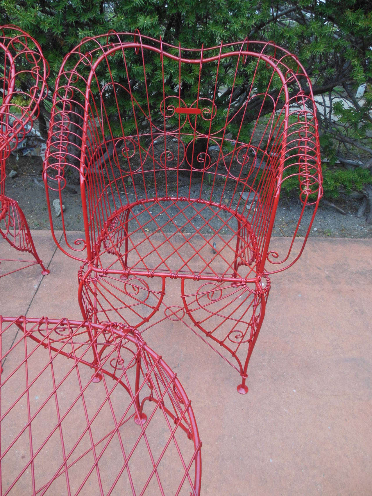 American Vintage Three-Piece Ornate Wire Patio Set For Sale