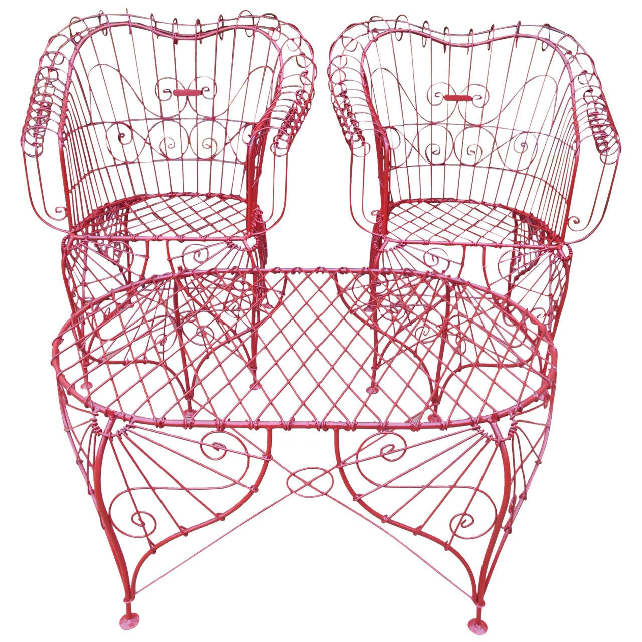 Vintage Three-Piece Ornate Wire Patio Set For Sale