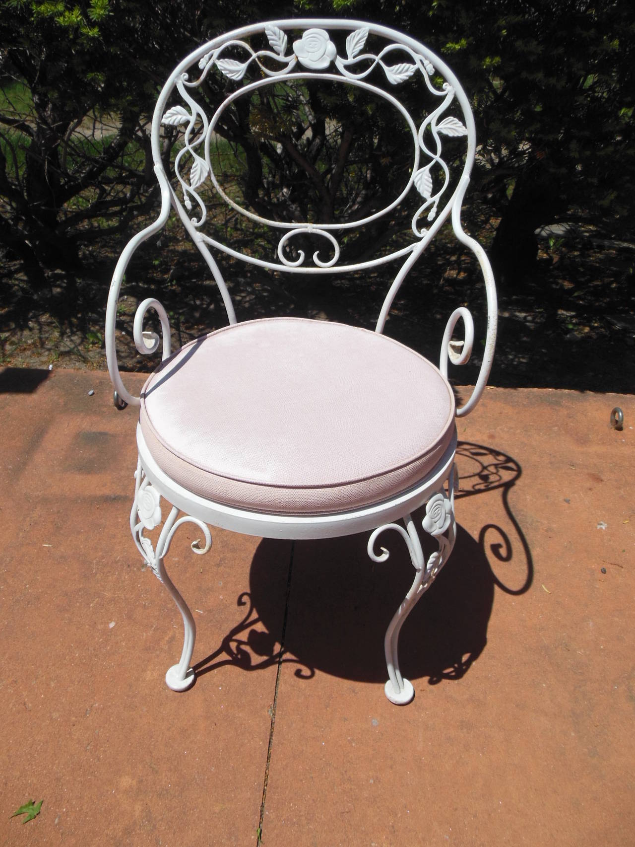 Patio Dining Set Woodard Wrought Iron Chantilly Rose Pattern At 1stdibs