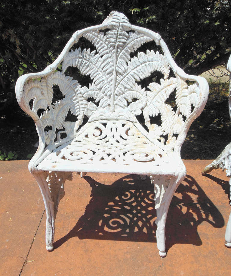 Cast Iron Pr Of Antique Fern Chairs At 1stdibs