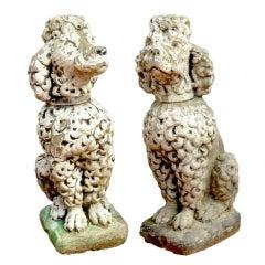 Pair of Cast Stone Poodles