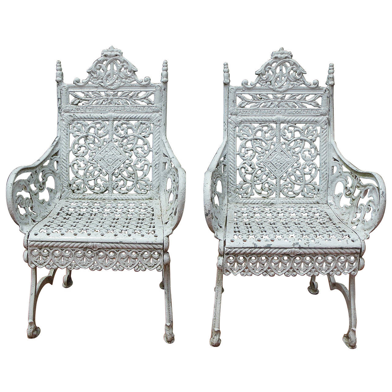 Pair of 19th century cast iron chairs by peter timmes ny Cast iron garden furniture