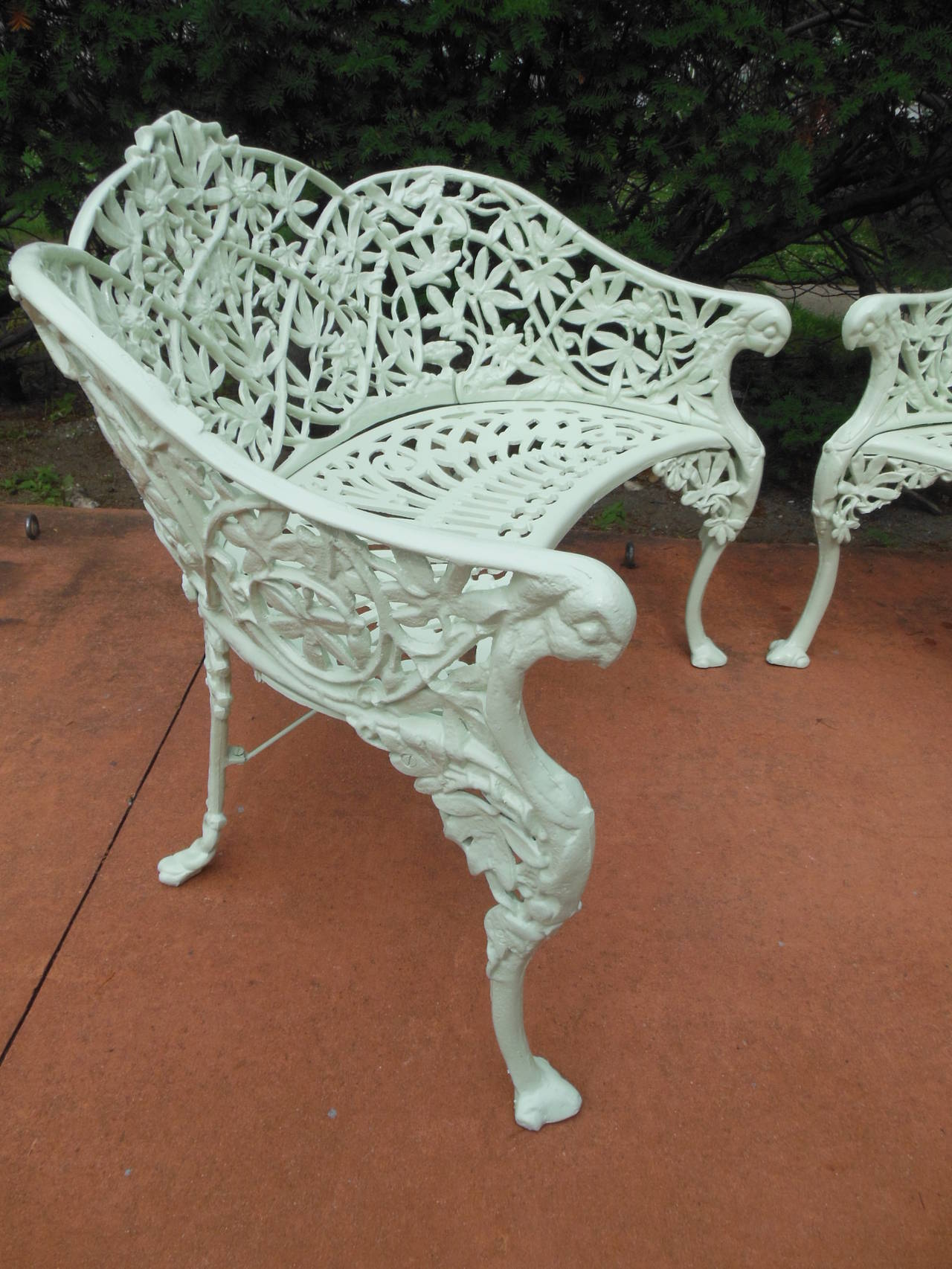 Antique Cast Iron Passion Flower Pair Of Benches For Sale