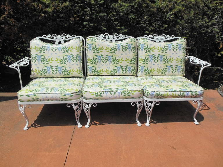 Woodard wrought iron sofa in the chantilly rose pattern at for Woodard outdoor furniture