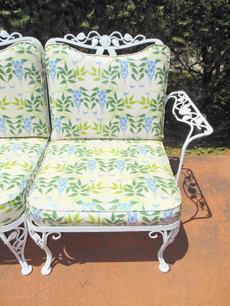 Woodard Wrought Iron Sofa In The Chantilly Rose Pattern 3