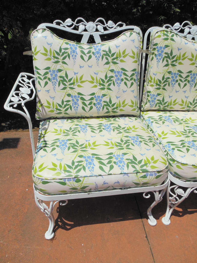 Woodard Wrought Iron Sofa In The Chantilly Rose Pattern At