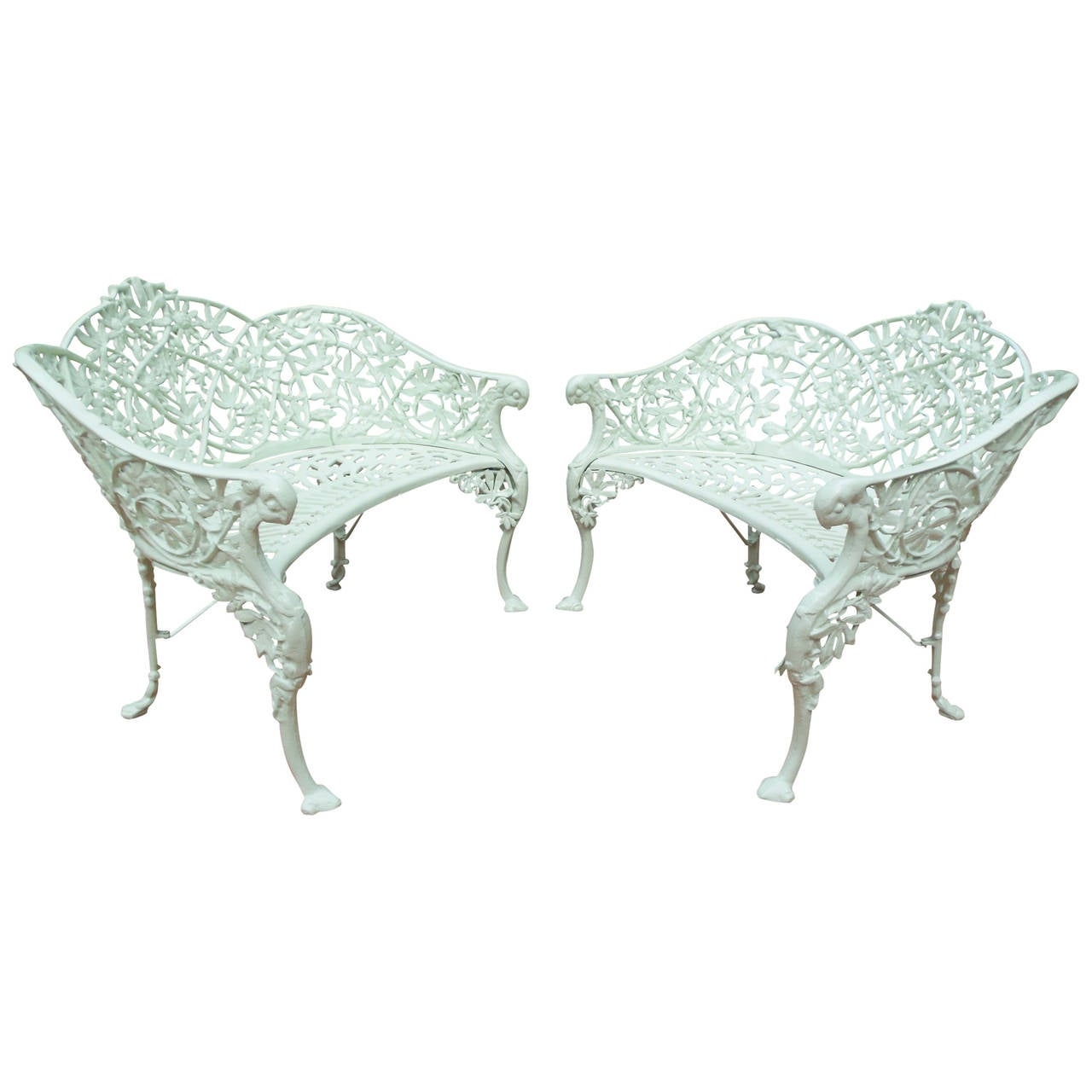 Antique Cast Iron Passion Flower Pair of Benches