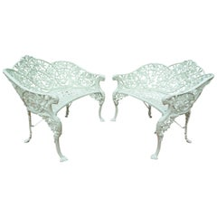 Pr Cast Iron Benches in Passion Flower pattern