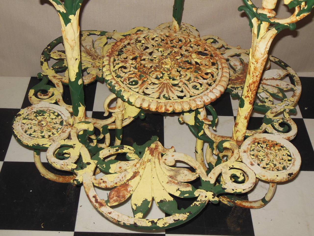 "Antique Plant Stand Cast Iron ""Coalbrookdale"" 9"